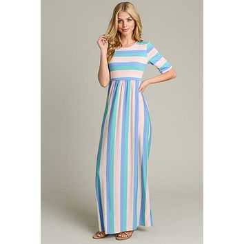 Summer Sorbet  Half Sleeve Style Maxi Dress