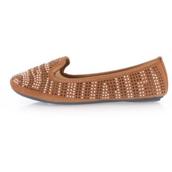 Camel Two Tone Rhinestone Pattern Loafer Flats Suede