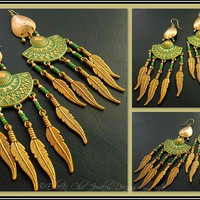 SALE Tribal Queen Chic Green Patina Brass Feather Ethnic Tribal Southwestern Boho Native American Gold Filled Spacers Chandelier Earrings
