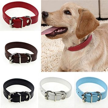 Adjustable Safety Belt Faux Leather Pet Dog Cat Puppy Collar Buckle Neck Strap