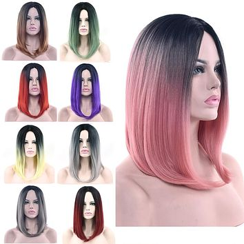 Ombre Cosplay Wigs - Straight Bob Style Synthetic Hair 16in