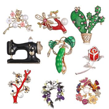 Austrian Crystal Brooch Pins For Women Flower Broches Jewelry Fashion Wedding Party Invitation Bijoux cactus Pea pods Sewing mac