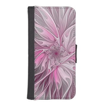 Fractal Pink Flower Dream, Floral Fantasy Pattern iPhone SE/5/5s Wallet Case