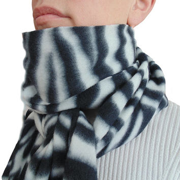 Black & White Fleece Scarf Zebra Pattern Unisex Scarf - Oversized - Extra Long Extra Wide