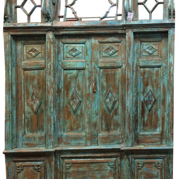 Antique doors Window Jharokha Rustic India Furniture - Architectural antique haveli doors blue patina