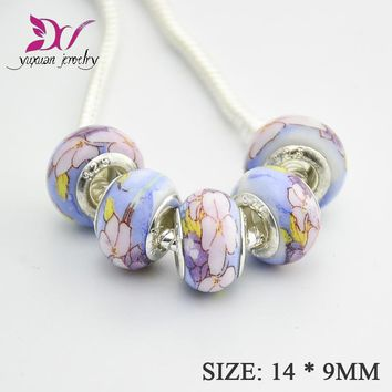 DIY craft ceramic Beads Fit European Charms Bracelets Necklaces jewelry making supplies lampwork bead berloques  pulseira TK006