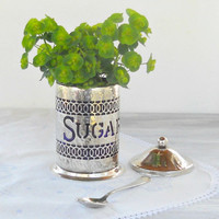Vintage Shabby Cottage Hammered Silverplate Sugar Canister with Spoon, Vintage Housewares, Table Decor, Vase