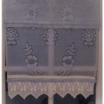 Blue Curtains, Pair Lace Kitchen Curtains, Cafe Curtains, Sheer Curtains, Whimsical