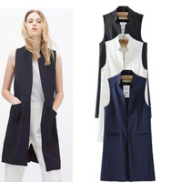 Women's Fashion Summer Korean Stylish Sleeveless Blazer [9344403844]