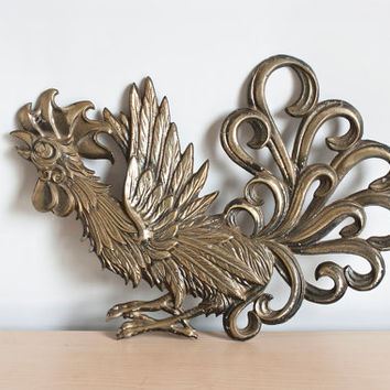 1960s Cast Aluminum Rooster Wall Hanging, Vintage Kitchen Decor,