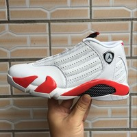 Air Jordan 14 Retro White/Red Sneaker Shoe US 7-12