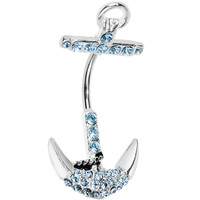 Light Blue Gem Holding Anchor Belly Button Ring | Body Candy Body Jewelry