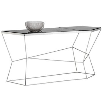 NATHAN STAINLESS STEEL BASE MARBLE VENEER TOP CONSOLE TABLE