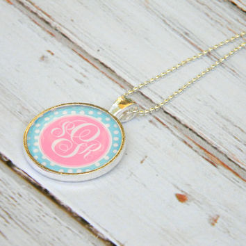 Silver Monogram Necklace, Personalized Jewelry, Monogrammed gift, Keepsake, Mother's Day gift