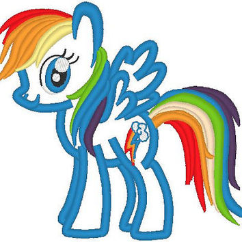 Rainbow Dash Pony machine embroidery applique designs, file - 4x4, 5x7 and 6x10