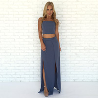 Vagabond Maxi Skirt & Tank Top Set In Blue