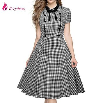 Berydress Elegant Women Peter pan Collar with Bow Short Sleeve Plaid Dress A-Line Midi Length Vintage Swing Dress Vestidos