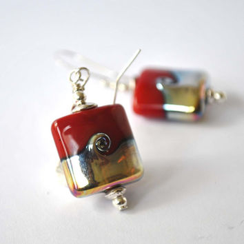 Red Earrings, Festive Holiday Earrings, Wave Earrings, Metallic Earrings, Lampwork Earrings, Christmas Earrings