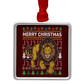 Lion Ugly Christmas Sweater Wildlife Series Metal Ornament