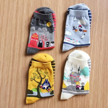 4 Pairs 2018 new Cute Women Japanese Hayao Miyazaki chinchilla socks Cartoon Animal Panda Print Ankle-High Socks