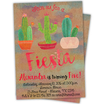 Girl Cactus Invitation - Girl Fiesta Birthday Invitations - Fiesta Invitations - Pink Fiesta - Pink Cactus Invites - Watercolor Kraft Girls