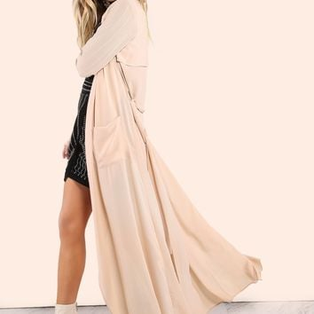 Belted Chiffon Waterfall Lapel Duster Taupe