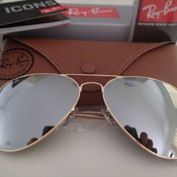 *NEW GENUINE* 80% Off Ray Ban Aviators Gold Frame Silver Mirror Lens Sunglasses