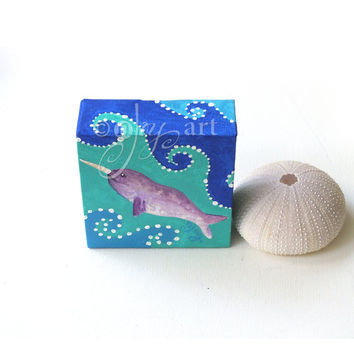 Narwhal Miniature Painting, Daily Doodle, 9/12/15 4x4 Miniature acrylic canvas art