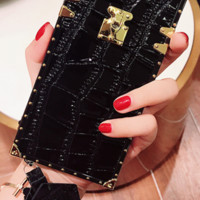 Crocodile Leather Gold Trunk iPhone Case