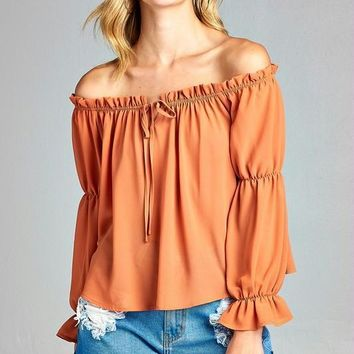 Long Sleeve Ruffled Peasant Off Shoulder Top