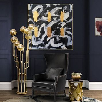 Large Original Painting On Canvas Black Painting Gold Abstract Painting Artwork Canvas Contemporary Art Painting Living Room Wall Art