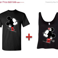 Valentines Day,Mickey Minnie Disney Couple shirt Kissing Inspired Tanktop Tank Top Boxy Tank top - Mickey Mouse and Minnie Mouse.Mr & Mrs