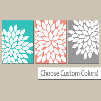 Turquoise Coral Wall Art, CANVAS or Prints Coral Gray Bathroom Artwork, Turquoise Bedroom Pictures, Flower Wall Art, Flower Burst Set of 3
