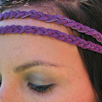 Bohemian Braided Leather Headband, Purple Double Strand Boho Band, Hippie Festival Headband