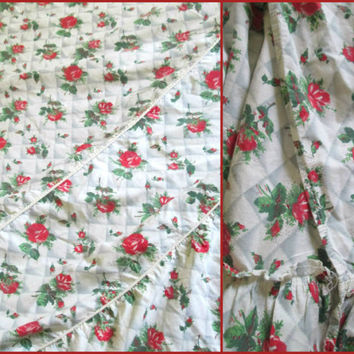 Red Rose Print Cotton Bedspread Vintage 1930s 1940s Full Queen Bedding // Poster Footboard Bed Cover
