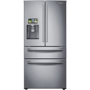 Samsung - 28.2 Cu. Ft. 4-Door French Door Apps Refrigerator with Thru-the-Door Ice and Water - Stainless Steel