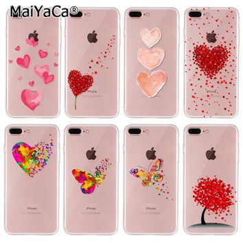 MaiYaCa Phone case for iphone 8plus case Watercolor Butterfly Love Heart silicone soft tpu cover For iPhone 8 plus Case