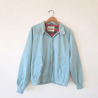 Vintage 80's Robin's Egg BLUE Northbilt PLAID Lined Members Only Style Zip Bomber Jacket Sz M