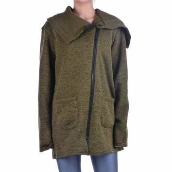 Women's Olive Green Asymmetrical Zipper Long Cowl Neck Warm Fleece Lined Jacket