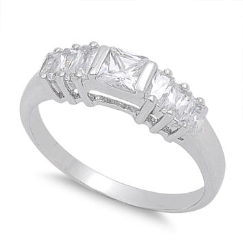 925 Sterling Silver CZ Princess Cut Center Ring