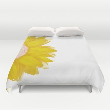 portrait of summer - yellow white Duvet Cover by Steffi Louis