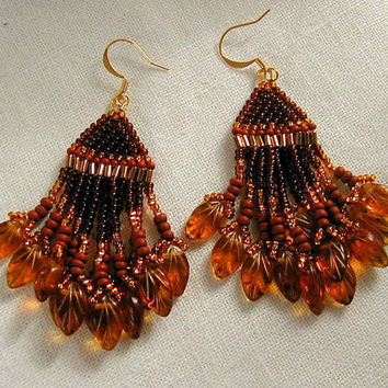 Fabulous Fall Czech Glass Leaf Beaded Dangle Earrings   ~Czech Glass Leaf Earrings~Fall Leaves Earrings~Beaded Dangle Earrings~Boho Earrings