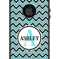 Custom OTTERBOX Commuter iPhone 5 5S 5C 4/4S Samsung Galaxy S3 S4 S5 Note 2 3 Case Two Tone Chevron Color Name Personalized Monogrammed