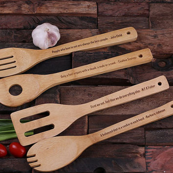 Personalized Bamboo Salad Utensils