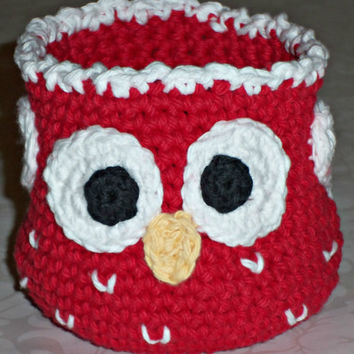 Crochet Owl Basket - Red with White