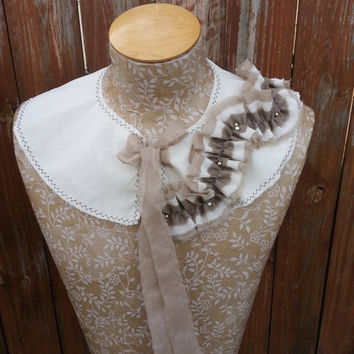 Detachable Fabric Collar in Vintage White and Shades of Brown, Shabby Chic Capelet Rustic Shrug By From the Hope Chest