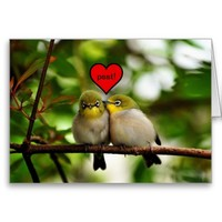 Valentine's Day Greeting Card - Birds in a tree