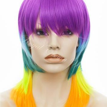 Non-Lace front Rainbow Pride Layered Wig