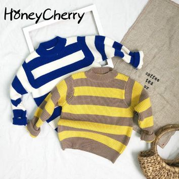 Korean Stripes Thickened Sleeves Sweaters Children's Sweaters Girls Winter Sweaters Infant Winter Clothing