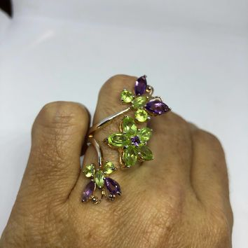 Vintage Handmade Genuine Green Peridot and Amthydt Setting 925 Sterling Silver Flower and Butterfly Adjustable Ring